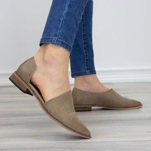 Tan Taupe Opened Side Pointy Slip On Flat Loafer